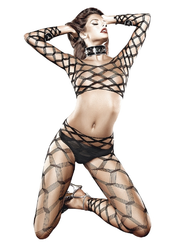 Baci Lingerie Two Piece Diamond Net Bodystocking