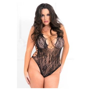 René Rofé LACED UP SEXY BODYSUIT PLUS SIZE